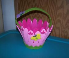 Pink Flower with Butterflies Felt Basket ~Any Occasion~Room Decor~Easter Basket