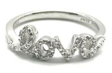 Sterling Silver 925 Petite Elegant Pave Diamond Love Script Word Cocktail Ring 7