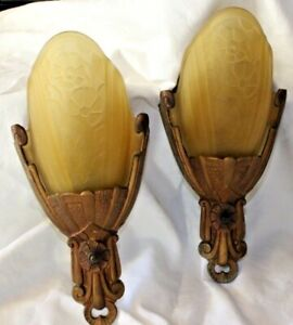 Antique Art Deco Pair Lincoln Slip Shade Wall Sconces 1930's