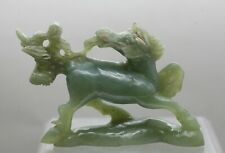 Terrific Vintage Chinese Hand Carved Jade Stone Carving Of A Qi Lin 麒麟 Statue
