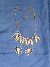 Vintage Goldtone Leaf Necklace Earring Clip Set Marked Austria