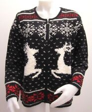 J Jill Womens Reindeer Sweater Size Medium Zip Up Cardigan New With Tags Holiday