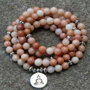 6mm Aventurine Bracelet 108 Beads Lotus Buddha Pendant Lucky Energy Healing