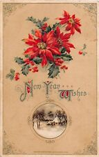 Beautiful Poinsettias & Holly Above Winter Scene on 1913 Winsch New Year PC