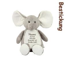 Elefant Kuscheltier bestickt Stickerei individuell Geburt Taufe waschbar