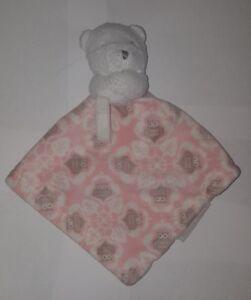 Blankets & Beyond Bear Owl Pink Lovey Plush Security Pacifier Binky Strap Nunu