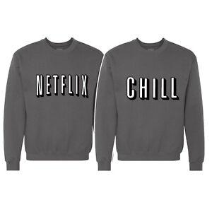 🔥 Netflix and Chill Couple Matching Sweatshirt Binge TV Shows Movies night crew