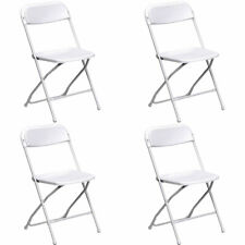 4-Pack White Plastic Folding Chair TentAndTable Commercial Wedding Party Chairs