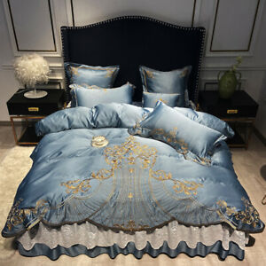 Bedding set 4pcs Classic embroidery Silk cotton quilt cover bed shirt/sheet set