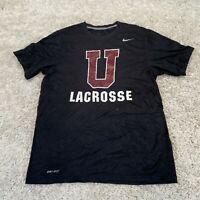 Vintage NIKE Mens T Shirt Medium Black Lacrosse Dri-Fit Sports Tee
