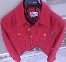 DOLCE & GABBANA JEANS Womens Satin Denim Jacket Maroon Red Silver Buttons Size S