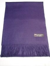 100% Cashmere Scarf Soft 72X12 Solid Navy Blue Scotland Wool Women Check Wrap