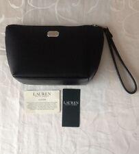 Ralph Lauren Women's Black Leather Zipped Cosmetic Wristlet/ Bag