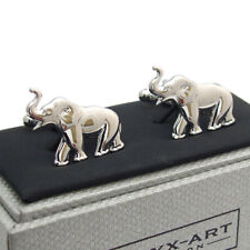 Elephant Cufflinks Rhodium Plated by Onyx-Art New Gift Boxed CK 459