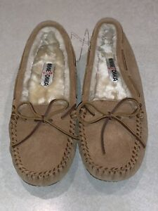 Minnetonka Moccasin Leather Women's Slippers Shoes 4052 Brown Size 10 New