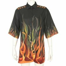 Flaming Fire Print Plus Size Gothic Turn Down Collar Ladies Blouses Shirts Women