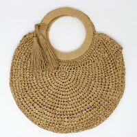 Women Rattan Straw Bag Woven Shoulder Wicker Round Handbag Beach Summer Bags