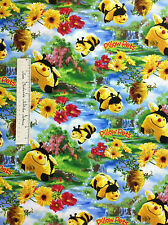 Print Concepts Fabric - Pillow Pets Bees Hive Honeycomb Black Yellow YARDS