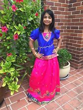 "32"" Age 8 - 10 Bollywood Kids Girls South Indian Silk Skirt Blouse Blue Pink"