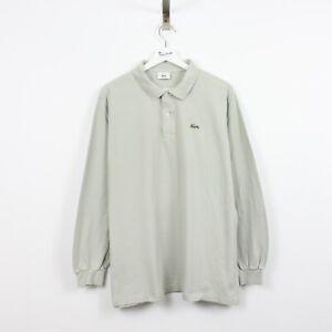 AC41 Vtg Lacoste Polo Men Light Grey Long Sleeve Cotton Shirt Size 6 XL