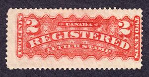 CANADA 1875 SCOTT F1a - REGISTRATION STAMP 2¢ VERMILION - H OG