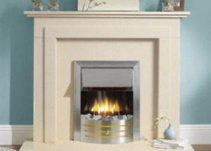 ENGLISH MADE HALSTON MARBLE FIRE SURROUND HEARTH & BACK PANEL