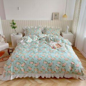 Floral Print Kids Girls Bedding Set Comfortable Duvet Cover Set Twin Queen King