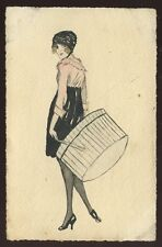 Glamour LADY WITH BOX artist drawn early PPC