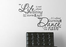 Life is not about waiting Learn to Dance in the rain Quote Wall Sticker Decal