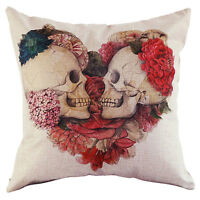1x Vintage Skull Cotton Linen Pillow Case Sofa Throw Cushion Cover Home Decor*v*