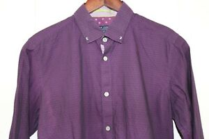 Ted Baker mens slim fit shirt size small, purple long sleeve button down EUC