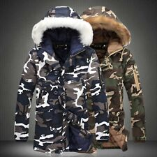 Men's Warm Winter Camouflage Hooded Jackets Casual Thicken Long Parkas Coats Lot
