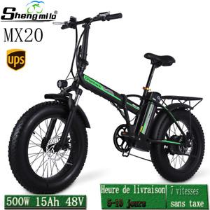 """20"""" VÉLo ÉLectrique 500W 15AH 48V Batterie Au Lithium Mountain Bike pliant ebike"""