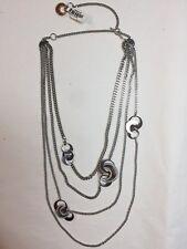 New REBECCA italy $420 Rhodium Bronze/Steel GRIFFE Necklace - Half Moon 4 Strand