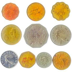 10 DIFFERENT COINS FROM AFRICAN COUNTRY - TANZANIA. OLD CURRENCY COLLECTION