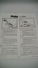 Dinky 354 Pantera Rosa Coche Hoja de Instrucciones sólo copias Original Perfecto Estado