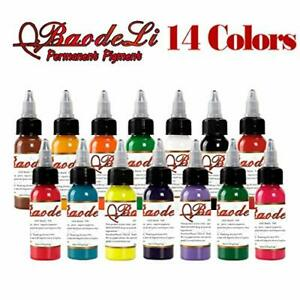 14 Bottles Tattoo Ink Colour Set Black Pigment For Body Paint Permanent Tattoo