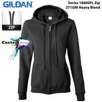 Gildan Black Zip Up Hoodie Basic Hooded Sweatshirt Sweater Female Ladies