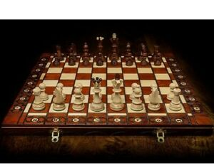Hand Crafted Ambasador Wooden Chess Set & Board Perfect Gift  Queen's Gambit