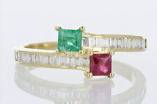 1.03ctw Square Cut Ruby and Emerald Band Ring 14k Yellow Gold Size 7.5