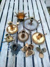 More details for job lot of 9 vintage brass candlesticks set of chamber sticks old candle holders