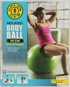 "Golds Gym Body Ball 55cm / 22in Height w/ Air Pump for 5'3"" & Under New/Unused"