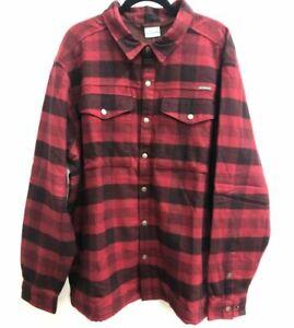 Columbia Men's Fireside Flannel Shirt Jacket, Elderberry Buffalo Plaid XXL - NEW