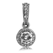 925 Sterling Silver Classic Elegance Clear CZ Dangle Pendant Charm Fit Bracelet