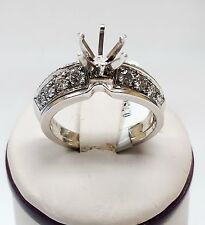 18k White Gold Diamond Engagement Ring Setting with Contour Band 0.75ctw