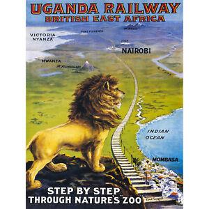TRAVEL UGANDA RAIL AFRICA LION TRAIN KILIMANJARO VINTAGE POSTER ART PRINT 12x16