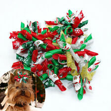 10/200Lots Christmas Dog Hair Bows Ribbon Rubber Bands Dog Grooming Accessories