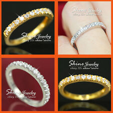18K GOLD FILLED SIMULATED DIAMOND ANNIVERSARY ETERNITY WEDDING LADIES SOLID RING