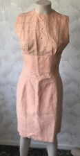 SIZE 12 TO 14 TRUE 1960S VINTAGE ORANGE SATEEN WITH LACE OVERLAY PENCIL DRESS