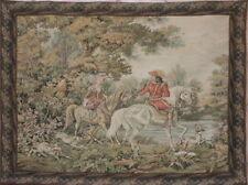 Gobelin en el estilo del siglo 17. - par en caballos con perros de caza